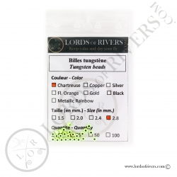 Tungsten Beads chartreuse Lords of Rivers
