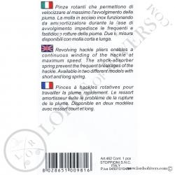 Pince à hackle (ressort court) Stonfo - Notice verso