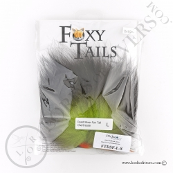 Foxy-Tails Dyed Silver Fox chartreuse pack